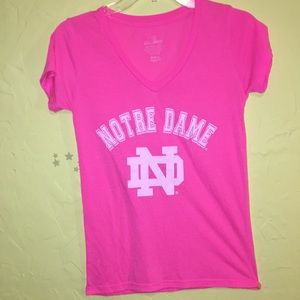 Tops - Notre Dame pink V-neck tee size small